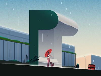 P city bus rain colors letterp p busstop 36 36daysoftype design illustration