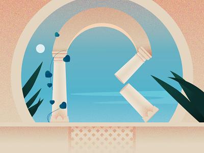 R ancient abstract plants moon r pillar palace 36daysoftype design illustration