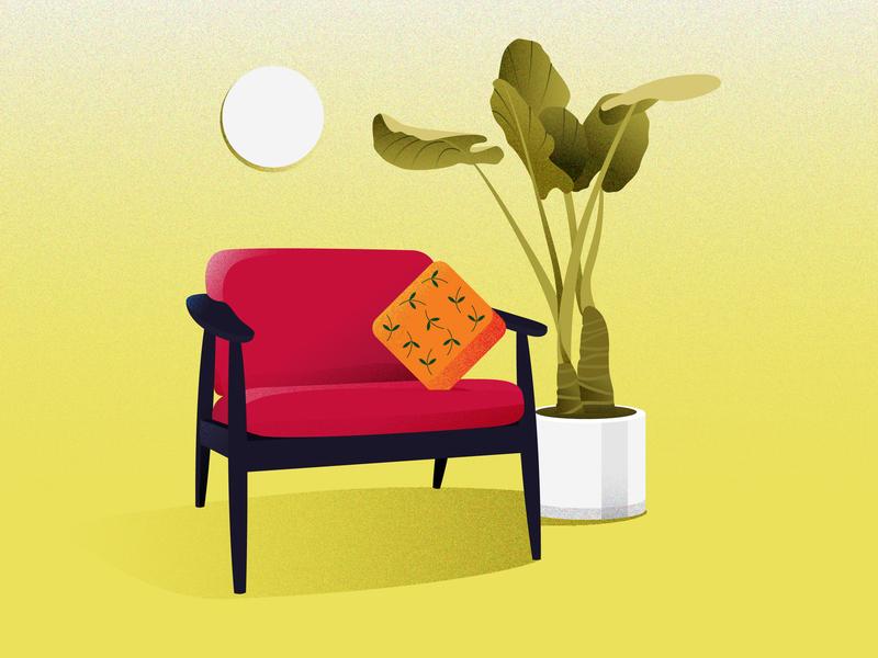 Living 01 chair design light uiillustration pillow chair interior interior design home plants ui colors design illustration