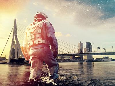 Go Interstellar in Rotterdam city surrealism landscape design space future erasmusbrug rotterdam art photoshop