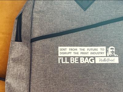 Helloprint I'LL BE BAG schwarzenegger terminator branding design branding corporate identity corporate design companybranding backpacks onboarding merchandise backpack