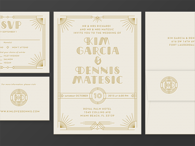 Kim & Dennis Invite art deco lettepress gold foil wedding invite