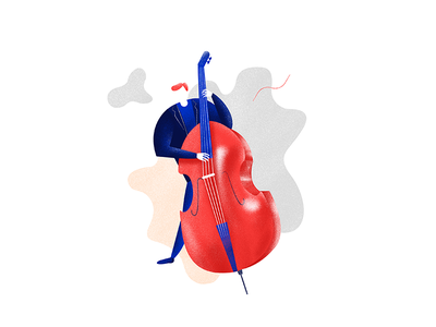 Jazzy Contrabass art design graphic design musicians music artwork illustration jazz contrabasist contrabass