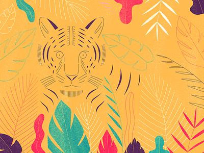 Tiger digital art artwork illustration wild nature leafs tiger
