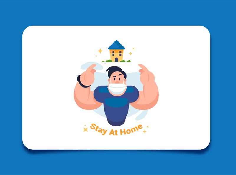 Stay At Home minimal pandemic coronavirus stayhome vector flat illustration character