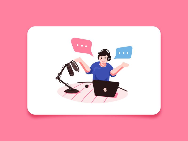 Podcast firstshot debut mobile laptop podcasting broadcast podcast design character vector flat minimal illustration