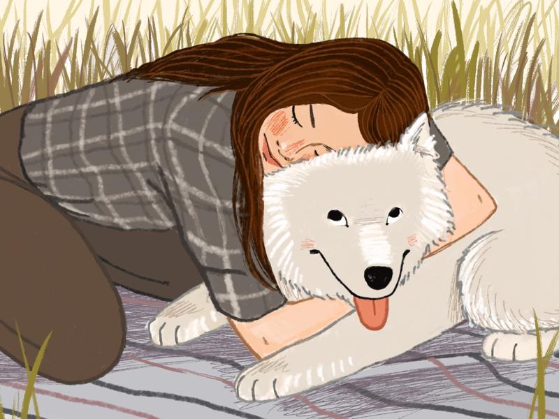 Friends drawing illustration procreate procreateapp samoyed dog girl