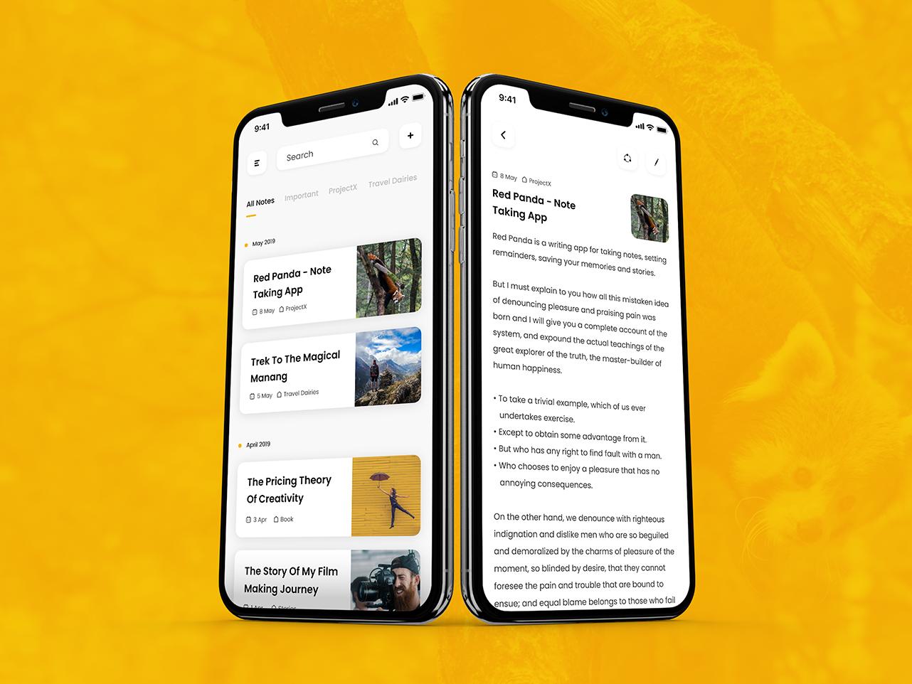 Red Panda - Note Taking App note minimal clean app design ux design user inteface ui