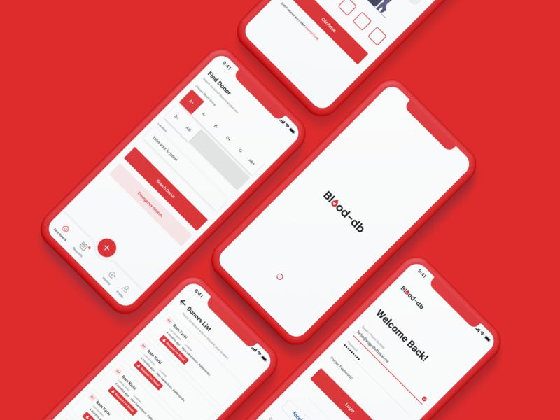 Blood Donation App : Blood-db Ui Design app ui blood donation app design user inteface design ui