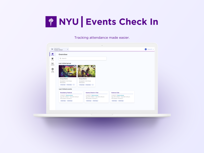 NYU Events Check In app ui web design ux