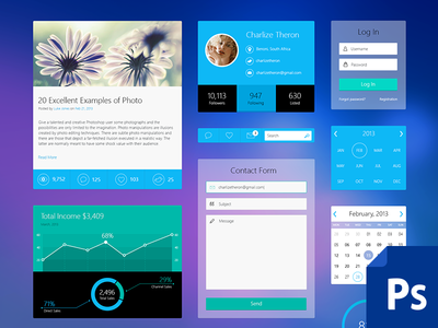 iOS 7 Inspired Web UI Kit - PSD dart117 icons flat flat ui infographics ui kit ios7 metro style website design admin panel