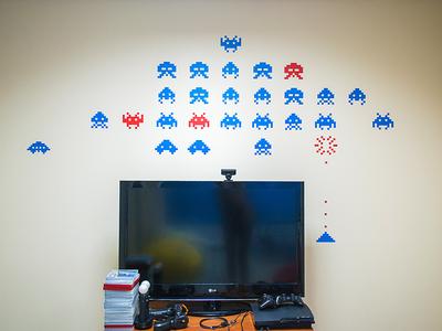 Pixelart wall pattern