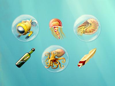 Underwater Icon Collection icon ios slots casino underwater bottle fish surfing dart117