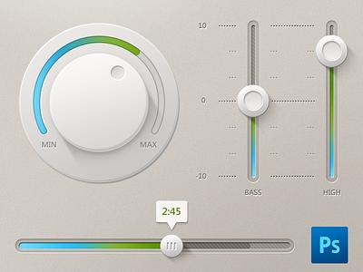 Light UI Controls + PSD dart117 button sound light ui volume interface knob slider