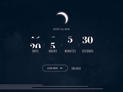 Full moon countdown transition ui moon gray blue webdesign daily ui dailyui