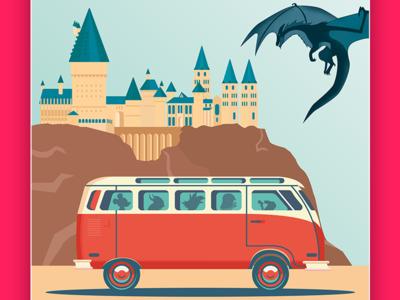 Choose your World print bus travel colors ilustration