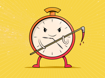 The timer´s knock time clock yellow colors illustrator illustration