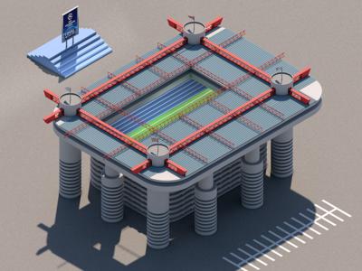 San Siro isometric sports art isometric illustration stadium