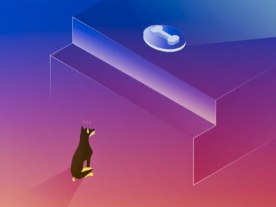 Do you want your reward? gradient colors dog isometric art ullustrator illustration