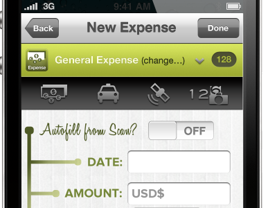 New Expense form form iphone toggle inputs honey script helvetica neue