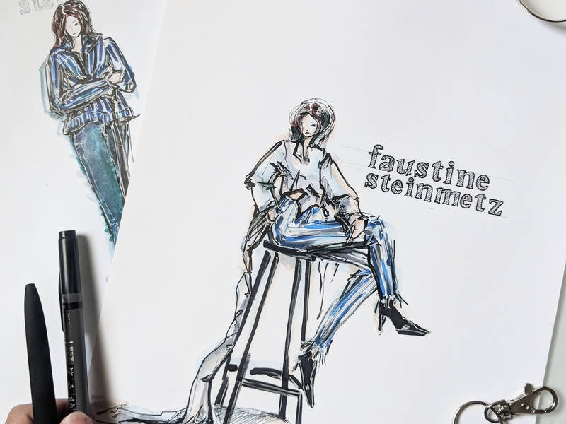 FAUSTINE STEINMETZ CASE STUDY denim haute couture model sketch marker sketch fashion label fashion drawing fashion collection fashion brand fashion branding marker fashion concept fashion illustration design fashion illustrator fashion design branding illustration drawing fashion