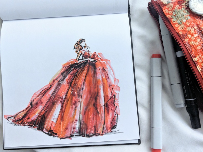 Steven Lejambe fashionarts haute couture dress model marker sketch fashion brand fashion label fashion drawing fashion collection fashion illustrator design fashion branding marker fashion design fashion concept drawing illustration fashion illustration fashion red dress