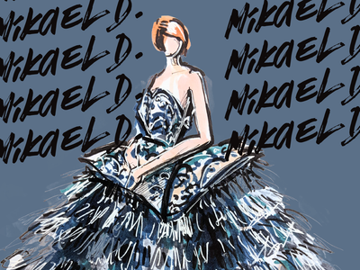 Mikael D - Blue Feathered Dress
