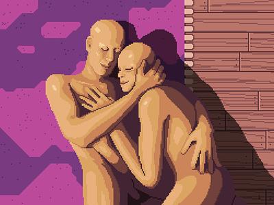 Love moment floor intimacy human hug love scenery character illustration