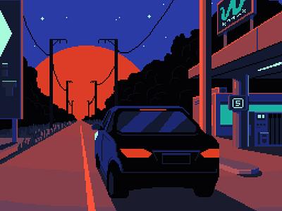 Take me to the sea backlit gradients illustration gas station road contrast blue orange sun cyberpunk outrun vaporwave retro car pixelart pixel