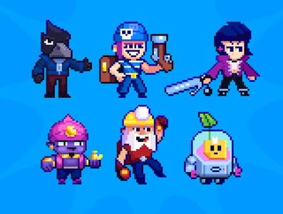 Sprites of Brawl Stars pixel pixelart blue contrast design character illustration