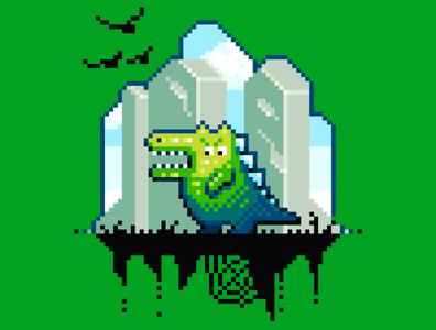 Dinosaur pixelart design character illustration