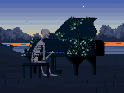 the play with no end pixelartist allegory death bones playing singing sand ocean sea beach dusk sunest moody music pixelart pixel piano skelleton character illustration
