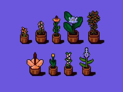 Flower pots indoor pots floral flowers game design assets game illustration