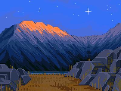 on a cold autumn day snowy dusk night lake mountains rocks retro 8bit pixels darius anton scenery contrast illustration pixelart