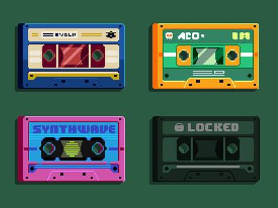 Cassette Tapes audio music lofi chill 8bit retro pixelartist cassettes design pixelart darius anton illustration