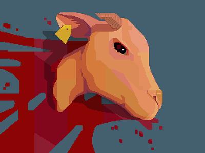 moo! blue dark animals calf cattle meat retro 8bit pixelart darius anton death blood cow head illustration