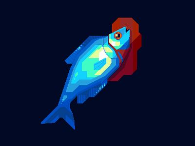 Drowning in my own blood darius anton shapes study creature dark blue blood seafood sealife animal fish pixelart illustration