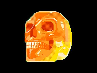 Skull designs yellow red translucent human 8bitart retro 8bit design head noise darius anton strong contrast orange skull character pixelart illustration