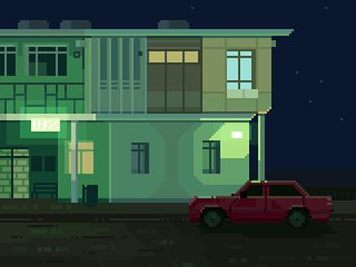Cicada darius anton building contrast car retro 8bit film moody night green blue design pixelart illustration