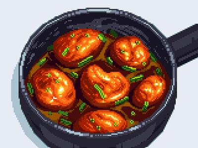 Caramel Chicken kitchen cooking saucepan scalion meal design pixelart pixel artist pan pixelated retro 8bit illustration chicken food illustration food darius anton pixel art