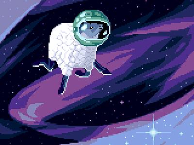 Space Sheep pixelartist funny universe stars galaxies space retro 8bit pixelart sheep darius anton character illustration