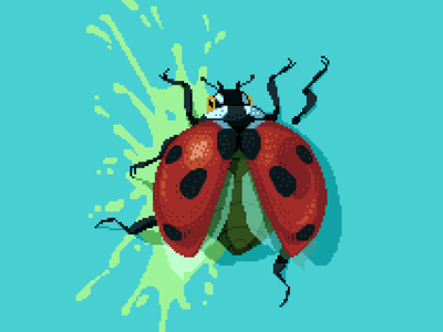 Ladybug contrast critter red cyan death ladybug pixelated darius anton squish bugs retro 8bit pixelart illustration insect bug