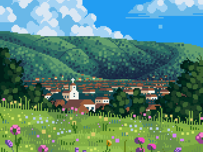 Sunlit summer scenery contrast blue green flowers background mid day clouds village church ghibli landscape pixel artist pixelated 8bit darius anton retro pixel art illustration
