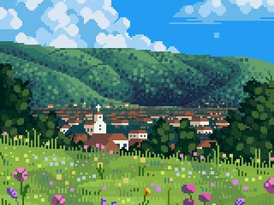 Sunlit summer scenery contrast blue green flowers background mid day clouds village church ghibli landscape pixel artist pixelated 8bit darius anton retro pixel art illustration