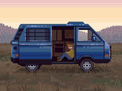 Loner pixelart camping design character lonely dusk sunset autumn field vehicle car aesthetic rv minivan retro 8bit pixelartist darius anton pixel art illustration