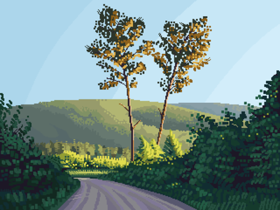 Color study landscape foliage sunset contrast pixelartist scenery retro pixelart illustration