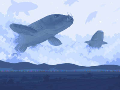 Black Koi dusk surreal flying sky koi fish night dissolve moody pixelartist blue scenery retro contrast design pixelart illustration