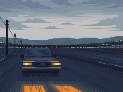 Leaving town roadtrip driving car dark moody scenery blue 8bit retro character design pixelart illustration