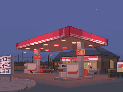 Gas Station roadtrip lonely moody night gasstation scenery blue contrast design 8bit retro pixelart illustration
