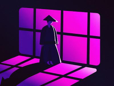 Little Japanese Samurai II blue sunset gradients design backlit scenery contrast character dissolve illustration